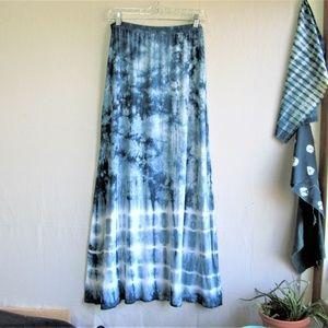 Tryst boho tie dye jersey knit maxi skirt